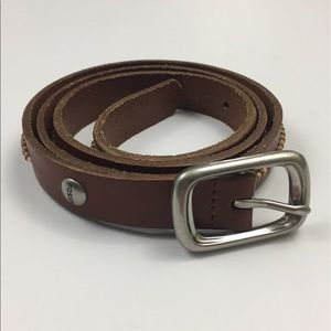 FOSSIL Brown and Cream Thin Genuine Leather Belt